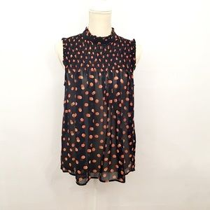 Anthropologie Maeve Darby Polka Dot Sleeveless Top